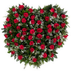 Wieniec pogrzebowy serce z róż Główna